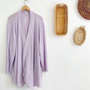 J. Jill Waffle Weave Open Front Cardigan Lavender